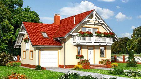 Мансардный дом с пристроенным гаражом