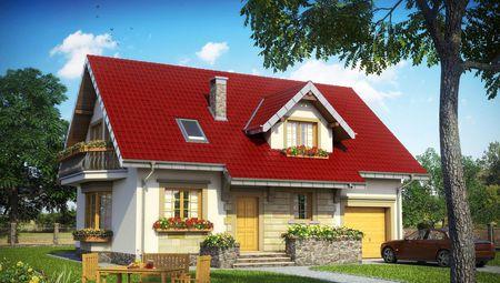 1,5-этажный дом с уютным крыльцом