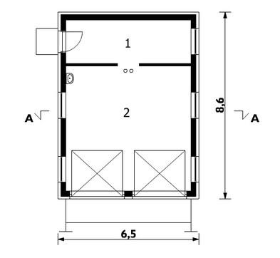 Двухместный гараж с кладовым помещением