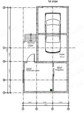 Архитектурный проект гаража со сторожкой