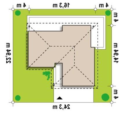 Проект функционального одноэтажного коттеджа с гаражом для 2 автомобилей