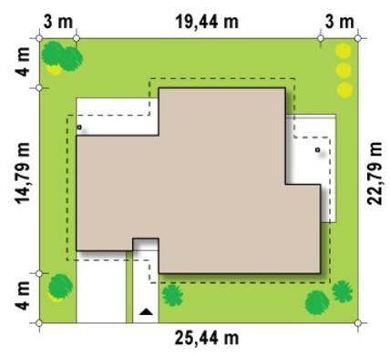 Проект одноэтажного просторного комфортного дома с многоскатной крышей и гаражом для 1 автомобиля