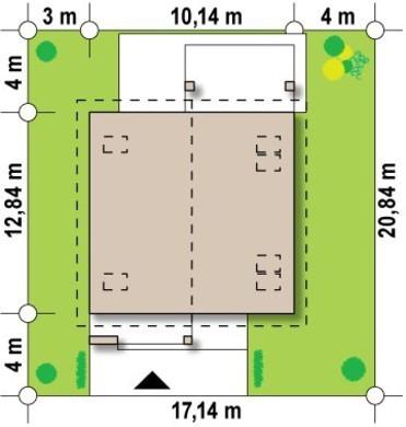 Проект классического коттеджа средних размеров с двухскатной крышей