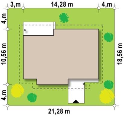 Проект одноэтажного дома с многоскатной крышей
