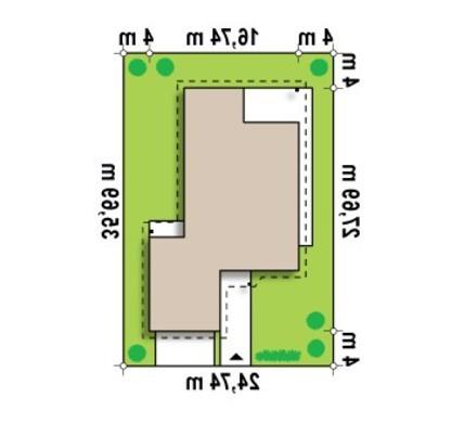 Проект одноэтажного коттеджа для узкого участка с большим гаражом