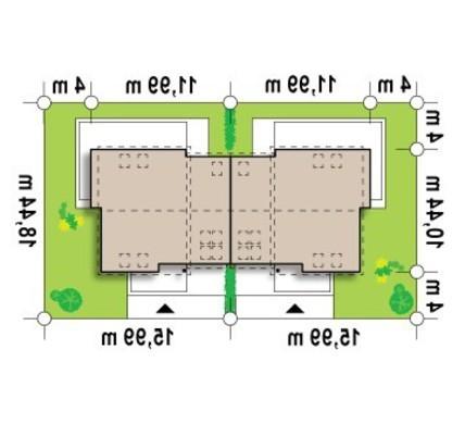 Проект просторного дома на 2 семьи с боковым гаражом