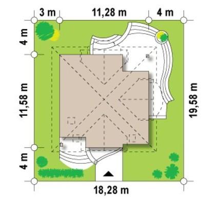 Проект коттеджа с мансардой и кирпичным фасадом