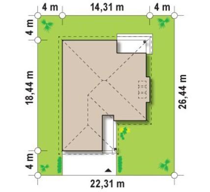 Проект одноэтажного коттеджа с гаражом и кирпичным фасадом