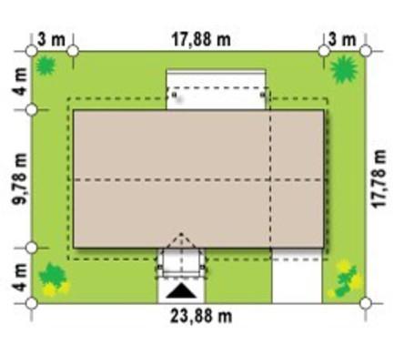 Проект одноэтажного загородного коттеджа с гаражом