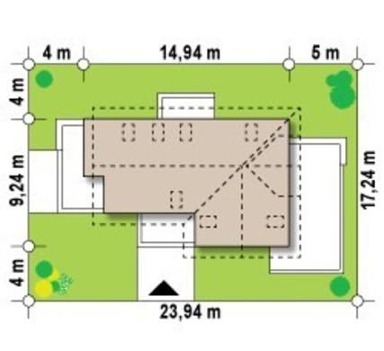 Проект дома с мансардой и дополнительным помещением на первом этаже