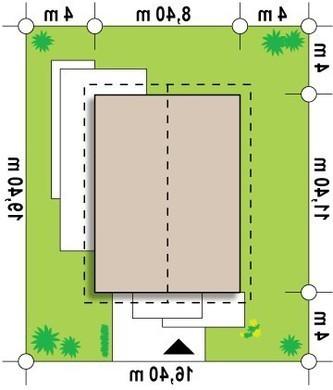 Проект небольшого одноэтажного дома с удобным боковым входом