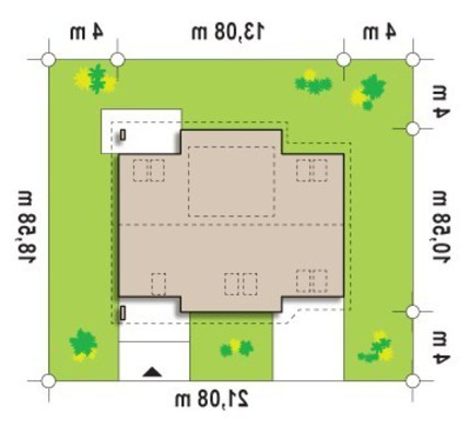 Проект дома с мансардой и дополнительной спальней на первом этаже