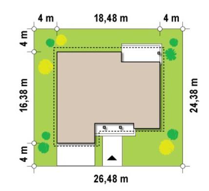 Проект дома с фронтальным гаражом для двух автомобилей