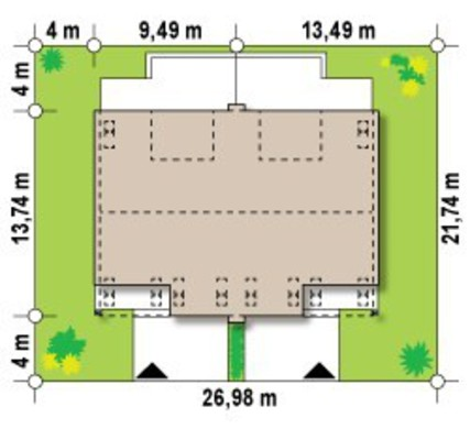 Проект двухэтажного симметричного дома на две семьи
