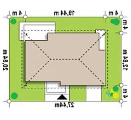 Проект классического одноэтажного дома с мансардой, кирпичным фасадом и гаражом
