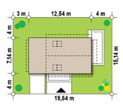 Проект дома с мансардой по типу 4M190 с гаражом на одну машину