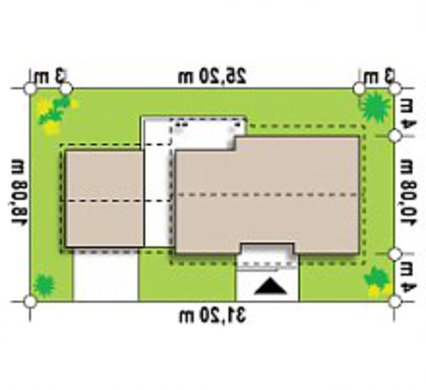 Одноэтажный дом с оригинально пристроенным гаражом