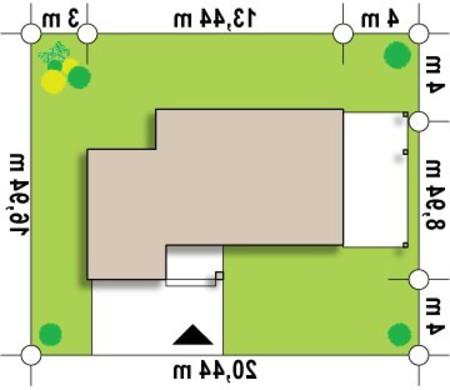 Проект современного дома с фронтальной гостиной