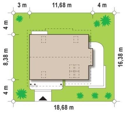 Проект коттеджа для участка с южным въездом