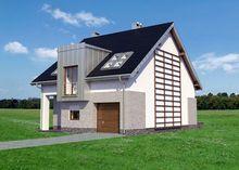 Современный загородный дом с гаражом и модерными эркерами