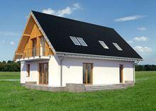 Проект загородного коттеджа с деревянной мансардой