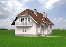 Архитектурный проект загородного дома с большим и малым эркерами