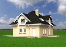 Архитектурный проект красивой усадьбы с мансардой и крыльцом