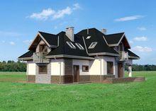 Большой загородный дом с красивой плавной террасой