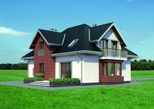 Красивый загородный особняк в классическом стиле с эркерами и террасой