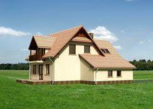 Готовый проект коттеджа 170 m² с мансардой и гаражом на 1 машину