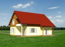 Готовый проект коттеджа более 200 m² с мансардой и гаражом на 1 машину