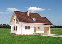 Проект строительства мансардного дома с гаражом на 1 автомобиль