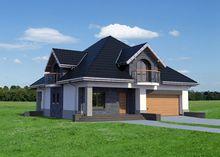 Строгий загородный дом с мансардой