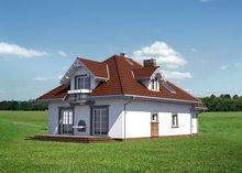 Оригинальный проект дома с гаражом для одной машины