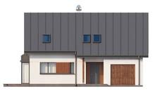 Проект коттеджа с мансардой, гаражом, кабинетом на первом этаже и эркером