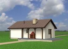 Проект одноэтажного здания с гаражом, санузлом и камином