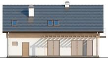 Проект классического коттеджа с гаражом вытянутой формы