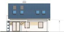 Проект экономичного недорогого дома с навесом для 1 автомобиля