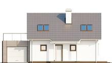Проект коттеджа с мансардой, гаражом и уютной красивой террасой