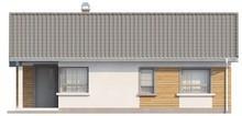 Проект компактного одноэтажного дома с угловым окном кухни