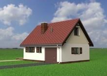 Проект мансардного здания с гаражом и печкой