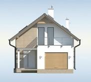 Проект дома для узкого участка, с гаражом и террасой над ним