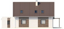 Проект дома с гостиной, боковой террасой и дополнительной спальней