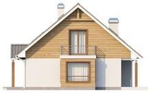 Проект дома с мансардой, эркером и балконом, стильным фасадом