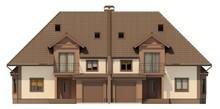 Проект коттеджа на две семьи с гаражом и чердаком
