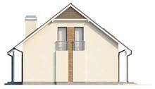 Проект коттеджа с гаражом, балконом и эркером