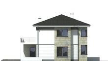 Двухэтажный жилой дом с полукруглой верандой