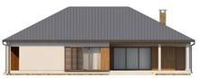 Проект одноэтажного коттеджа с гаражом и крытой террасой