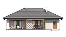 Схема жилого дома в благородных оттенках на 100 кв. м с гаражом