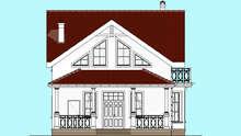 Проект белоснежного дома в два этажа с колоннами и балконами общей площадью 133 кв. м